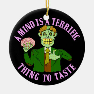 Funny Zombie Professor Proverb Double-Sided Ceramic Round Christmas Ornament
