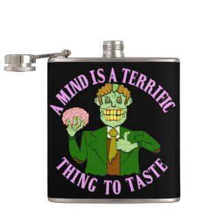 Funny Zombie Professor Proverb Flasks