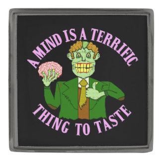 Funny Zombie Professor Proverb Gunmetal Finish Lapel Pin