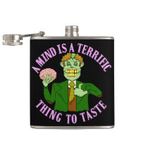 Funny Zombie Professor Proverb Hip Flask