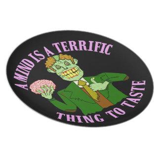 Funny Zombie Professor Proverb Melamine Plate
