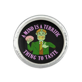 Funny Zombie Professor Proverb Photo Rings