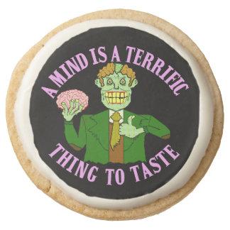 Funny Zombie Professor Proverb Round Premium Shortbread Cookie