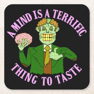 Funny Zombie Professor Proverb Square Paper Coaster