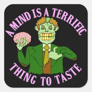 Funny Zombie Professor Proverb Square Sticker