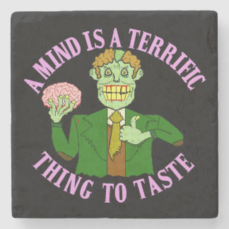 Funny Zombie Professor Proverb Stone Beverage Coaster