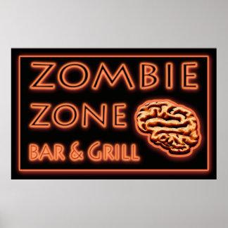 Funny Zombie Restaurant Sign Halloween Poster