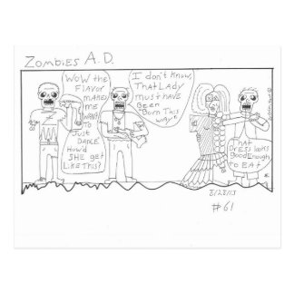 funny zombie stuff postcard
