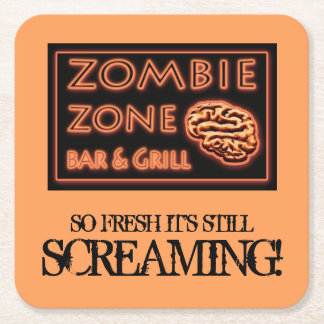 Funny Zombie Zone Halloween Party Square Paper Coaster