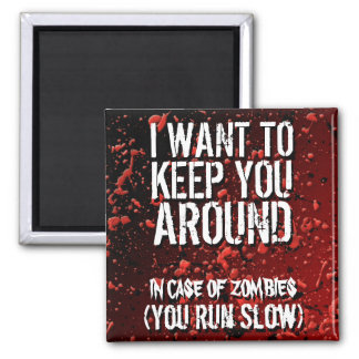Funny Zombies Apocalypse Humor 2 Inch Square Magnet