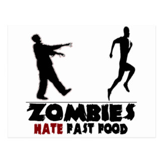Funny Zombies Fast Food Postcard