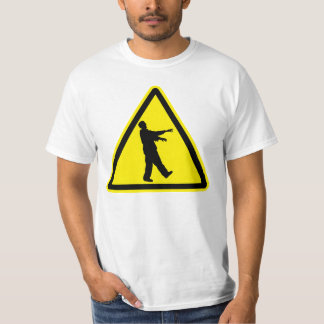 Funny Zombies Hazard Sign in Yellow and Black T Shirt