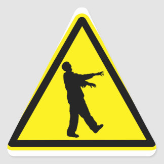 Funny Zombies Hazard Sign Stickers