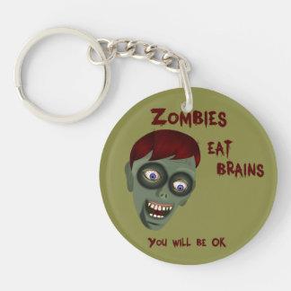 Funny Zombies Love Brains Keychain