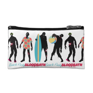 Funny zombies summer fun beach party cosmetics bags