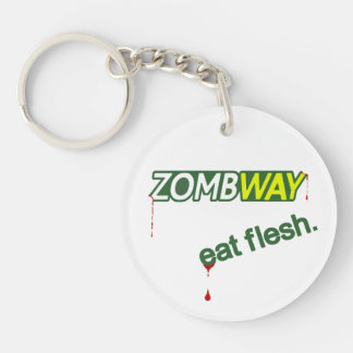 Funny Zombway Eat Flesh Zombie Parody Keychain