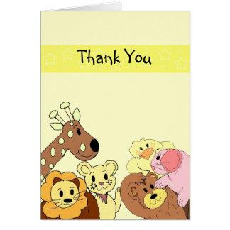 Funny Zoo Animal Thank You Card