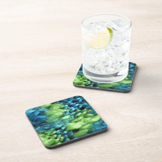 FunnyPhoto Blue&Green Knitted Pattern Beverage Coaster