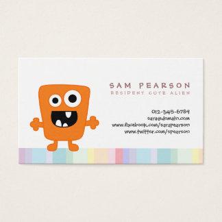 FunnyTitle Cute Orange Monster Alien Kids NameCard