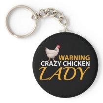 Funy Chicken Design Crazy Chicken Lady Keychain