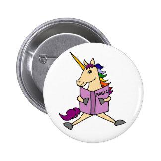 Funy Unicorn Reading Magic Book Art Button