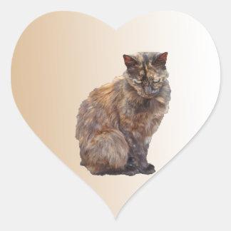 Fur Coat Cat Heart Stickers
