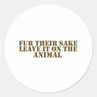 Fur their sake classic round sticker