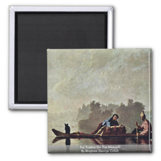 Fur Traders On The Missouri 2 Inch Square Magnet
