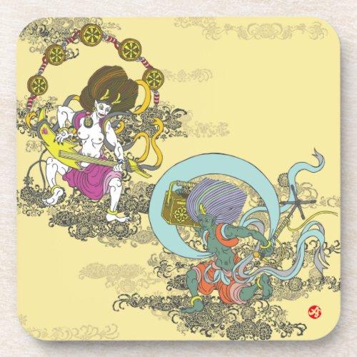 thunder, wind, japan, japanese, thunderbolt, arabesque, pattern, foliage, scrolls, illustration, 唐草, 風, 日本, 和風, イラスト, 空, sky, pop, arts, ポップ