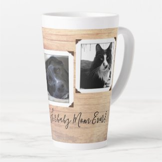 Furbaby Mom Dad Wood Grain Multi-photo Latte Mug