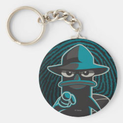 Basic Button Keychain with Agent P - Furball with Attitude by Phineas and Ferb design