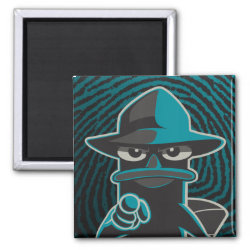 Square Magnet with Agent P - Furball with Attitude by Phineas and Ferb design