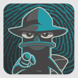 Square Sticker with Agent P - Furball with Attitude by Phineas and Ferb design