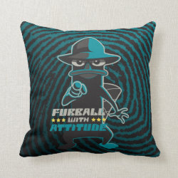 Cotton Throw Pillow with Agent P - Furball with Attitude by Phineas and Ferb design