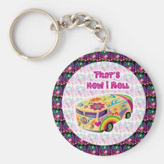 furgoneta del hippie cómo ruedo llavero redondo tipo pin