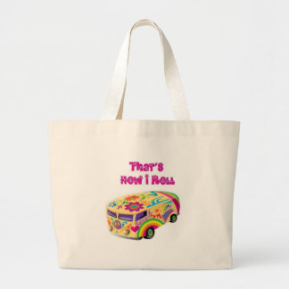 furgoneta del hippie retra cómo ruedo bolsa tela grande