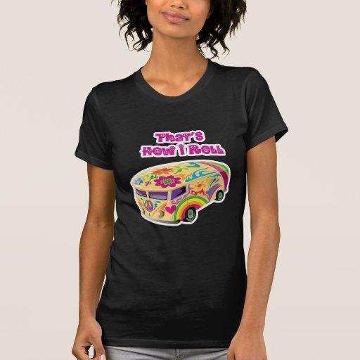 furgoneta del hippie retra cómo ruedo camisetas