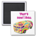 furgoneta del hippie retra cómo ruedo iman de nevera
