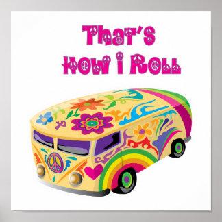 furgoneta del hippie retra cómo ruedo póster