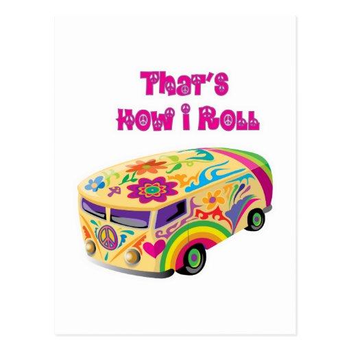 furgoneta del hippie retra cómo ruedo tarjetas postales