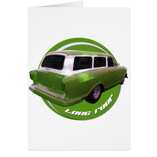 furgoneta larga del verde del tejado del nash tarjeta de felicitación
