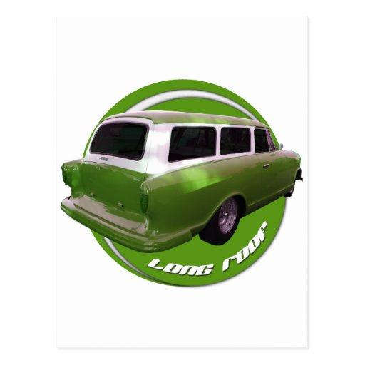 furgoneta larga del verde del tejado del nash tarjeta postal