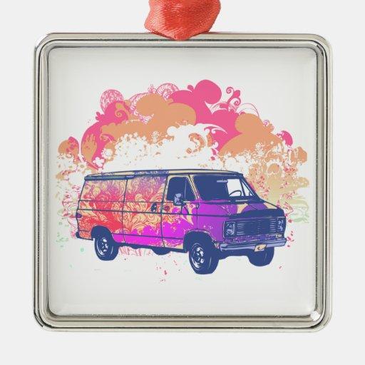 furgoneta retra del hippie del grunge adorno cuadrado plateado