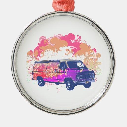furgoneta retra del hippie del grunge adorno redondo plateado