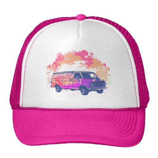 furgoneta retra del hippie del grunge gorros