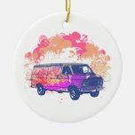 furgoneta retra del hippie del grunge ornatos