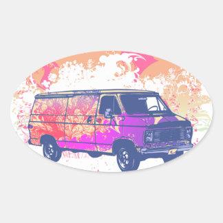 furgoneta retra del hippie del grunge calcomanía ovaladas personalizadas