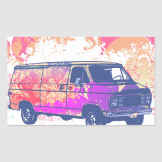 furgoneta retra del hippie del grunge rectangular altavoz