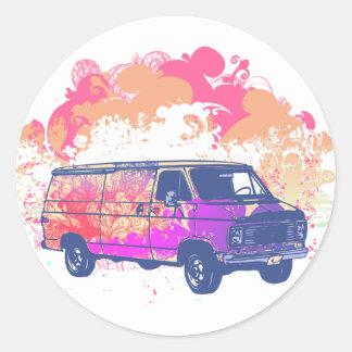 furgoneta retra del hippie del grunge etiqueta redonda