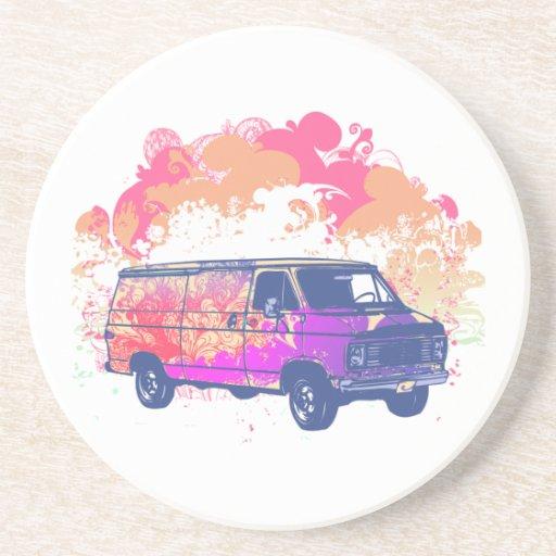 furgoneta retra del hippie del grunge posavasos manualidades